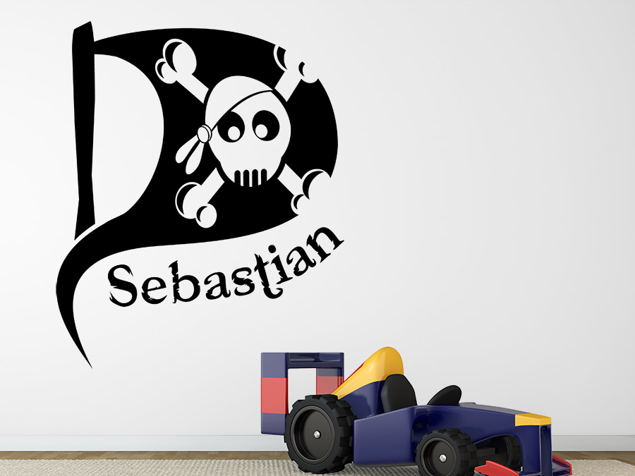kinder wandtattoo  piratenflagge mit wunschname