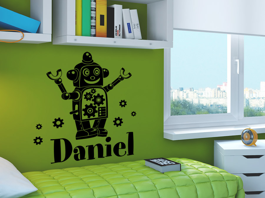 wandtattoo roboter mit wunschname wandtattoo de. Black Bedroom Furniture Sets. Home Design Ideas
