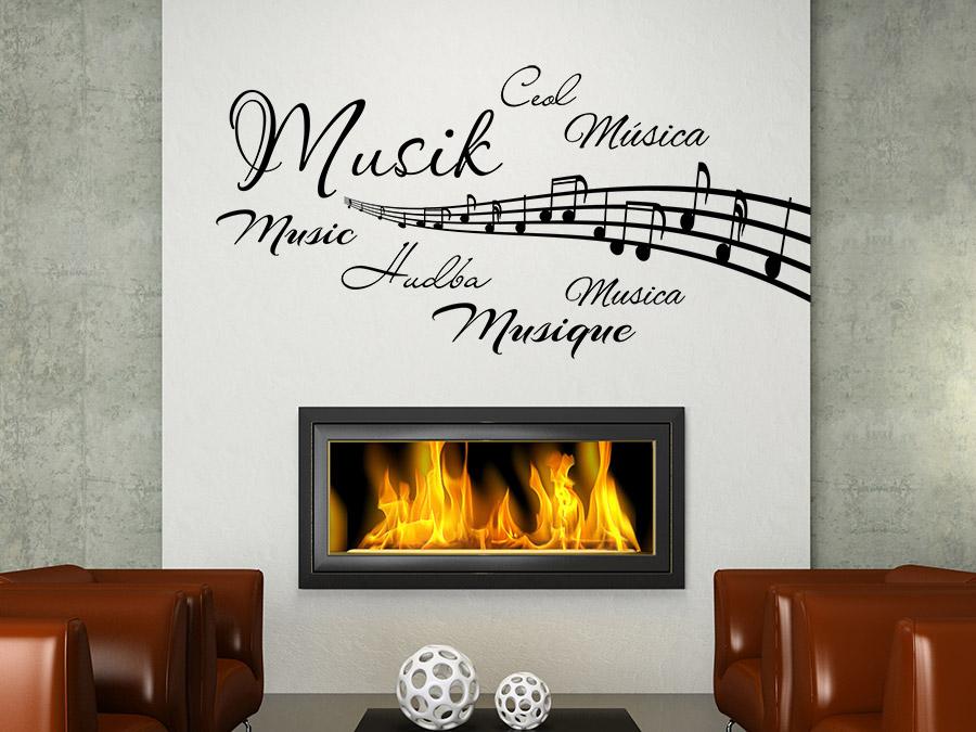 wandtattoo wortwolke musik mit notenlinien wandtattoo de. Black Bedroom Furniture Sets. Home Design Ideas