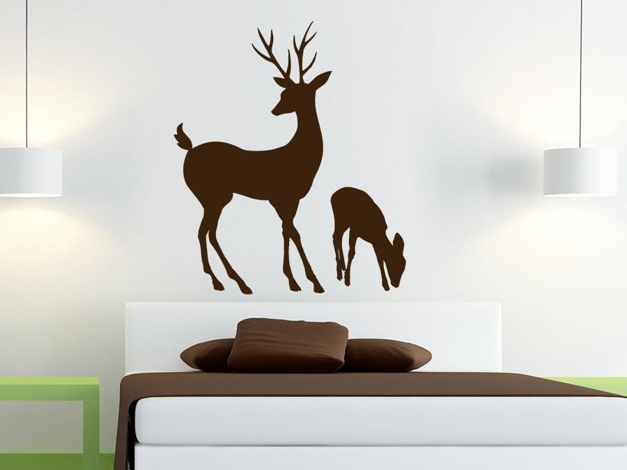wandtattoo hirsch mit hirschkalb wandtattoo de. Black Bedroom Furniture Sets. Home Design Ideas