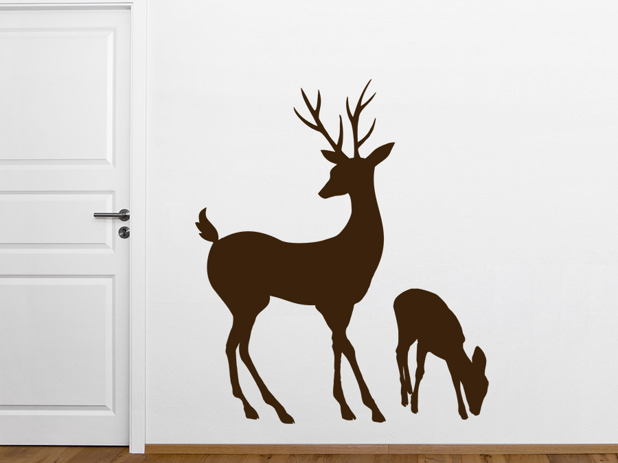 wandtattoo hirsch mit hirschkalb von. Black Bedroom Furniture Sets. Home Design Ideas