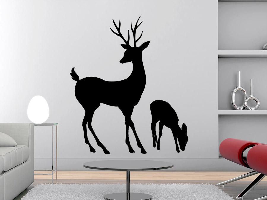 wandtattoo hirsch mit hirschkalb wandtattoo de. Black Bedroom Furniture Sets. Home Design Ideas