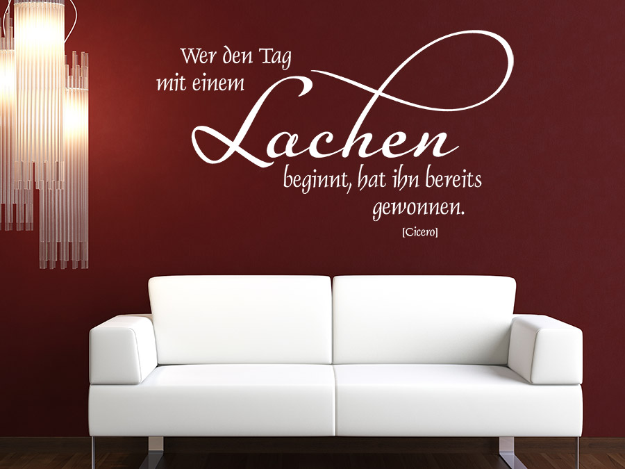 wandtattoo wer den tag mit einem lachen beginnt wandtattoo de. Black Bedroom Furniture Sets. Home Design Ideas