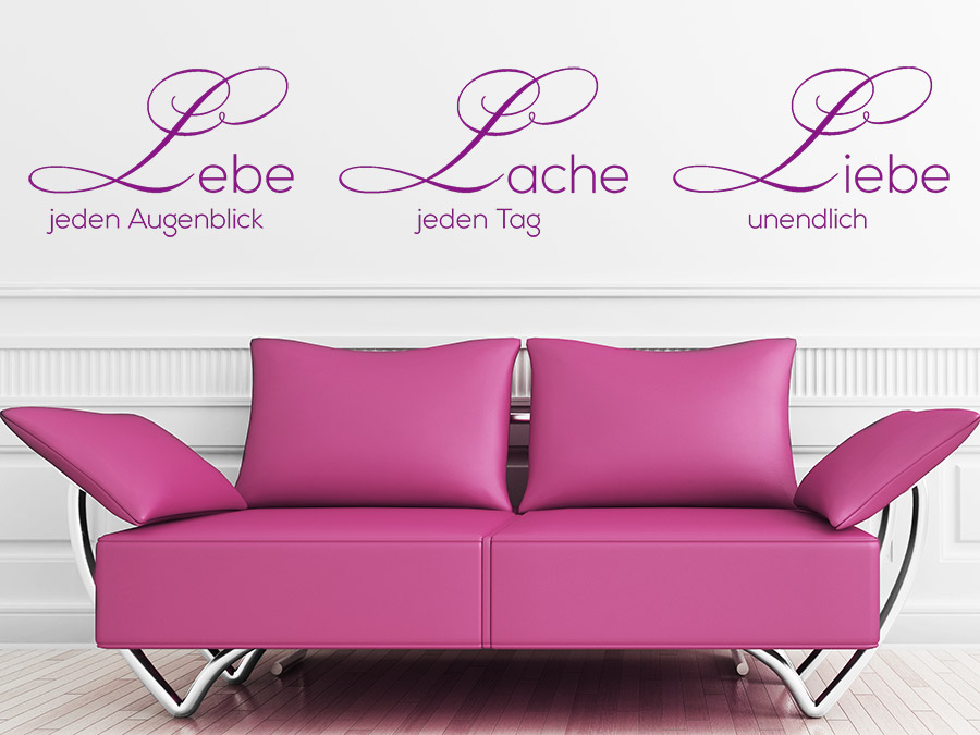 wandtattoo lebe lache liebe bei. Black Bedroom Furniture Sets. Home Design Ideas