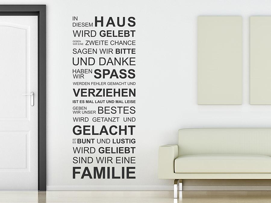 Wandtattoo In diesem Haus wird gelebt - I-love-Wandtattoo.de
