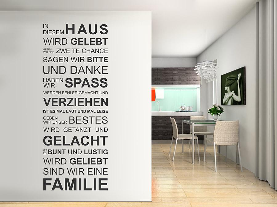 Wandtattoo In diesem Haus wird gelebt... | WANDTATTOO.DE