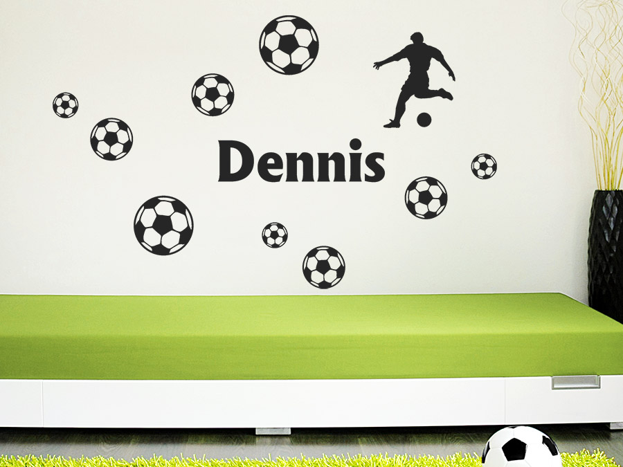wandtattoo fussball set mit wunschname bei. Black Bedroom Furniture Sets. Home Design Ideas