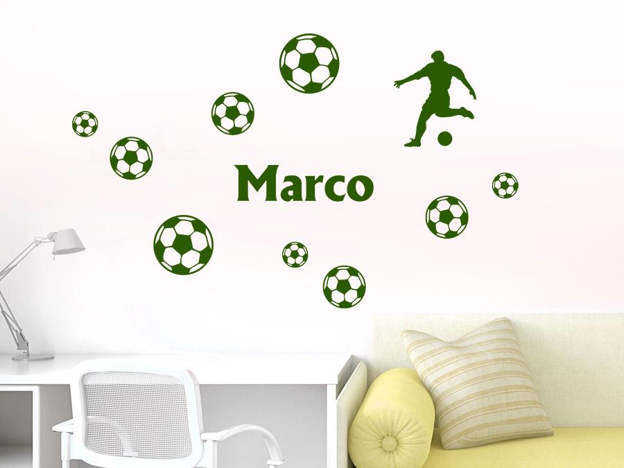 Wandtattoo Fußball Set Mit Name In Grün