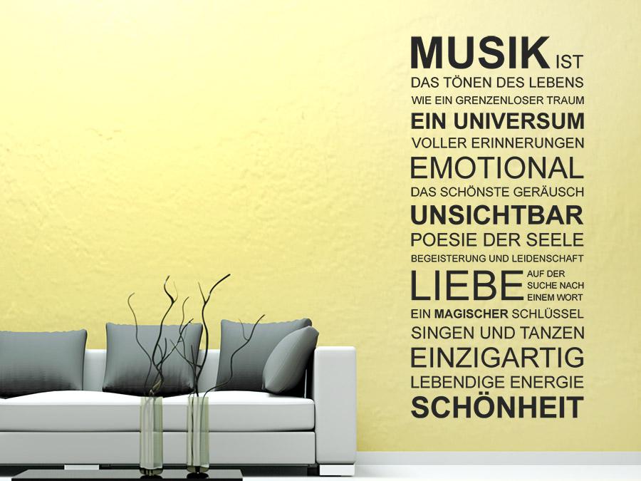 Wandtattoo Spruchband Musik Bei Homesticker.de Wohnzimmergestaltung Mit Wandtattoo