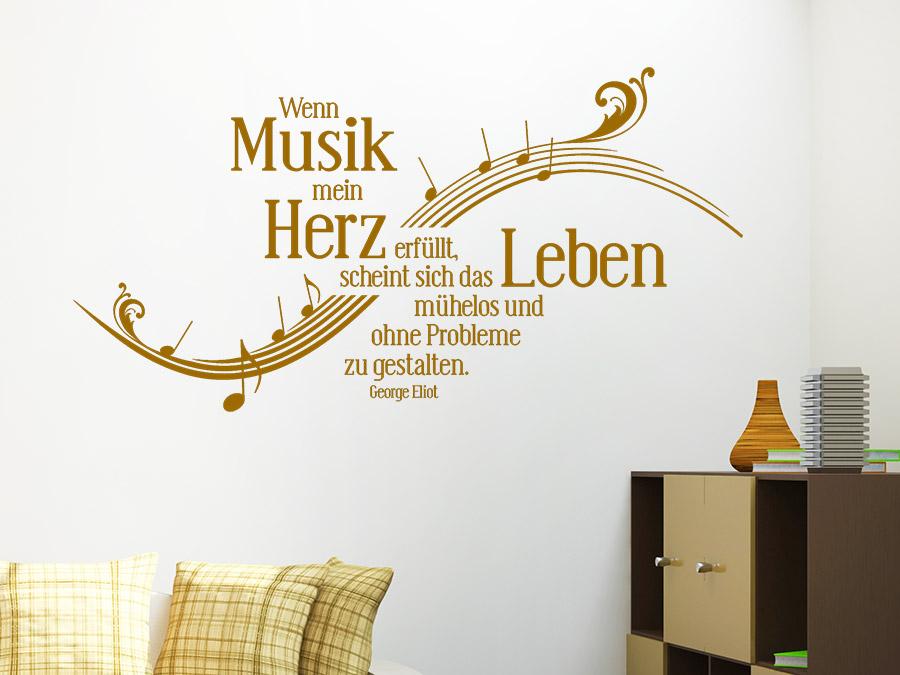 Musik Wohnzimmer | Wandtattoo Wenn Musik Mein Herz Erfullt Wandtattoo De