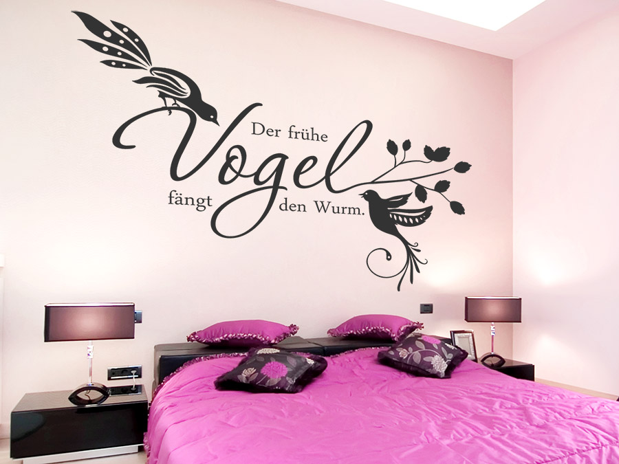 wandtattoo der fr he vogel f ngt den wurm von. Black Bedroom Furniture Sets. Home Design Ideas