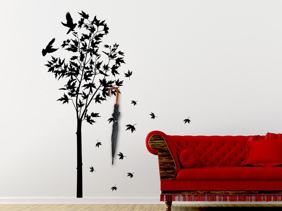 wandtattoo garderobe ahornbaum mit wandhaken wandtattoo de. Black Bedroom Furniture Sets. Home Design Ideas
