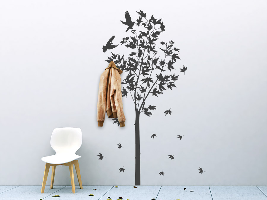 wandtattoo garderobe ahornbaum von. Black Bedroom Furniture Sets. Home Design Ideas