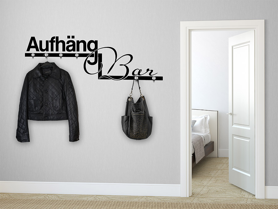 wandtattoo garderobe aufh ngbar mit wandhaken wandtattoo de. Black Bedroom Furniture Sets. Home Design Ideas