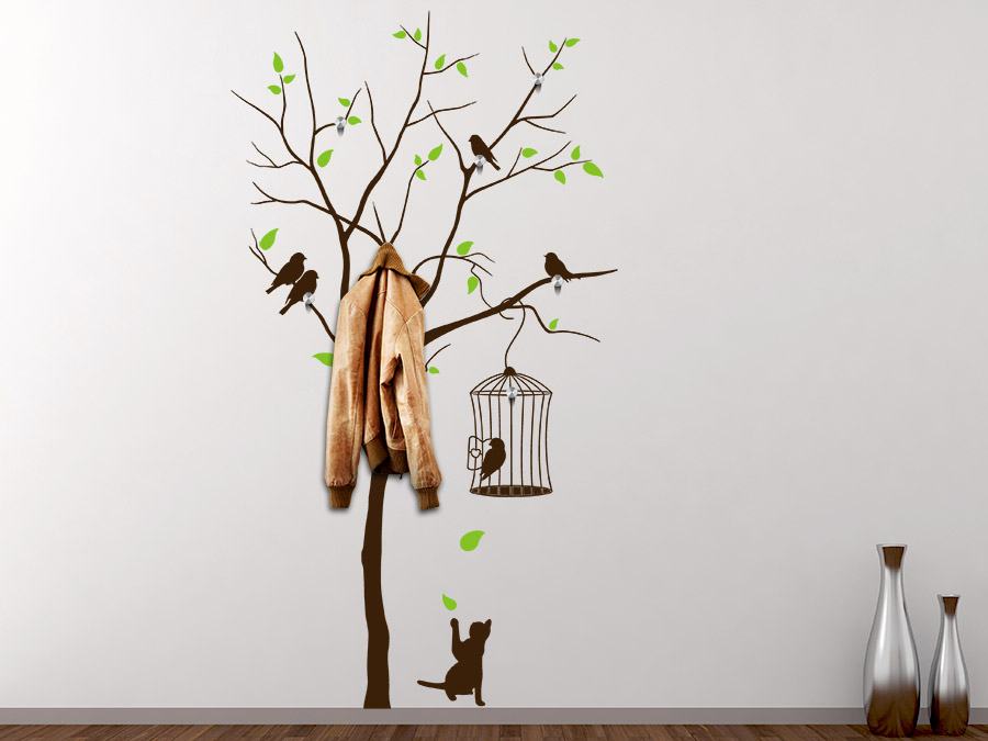 wandtattoo garderobe baum mit vogelk fig und katze bei. Black Bedroom Furniture Sets. Home Design Ideas