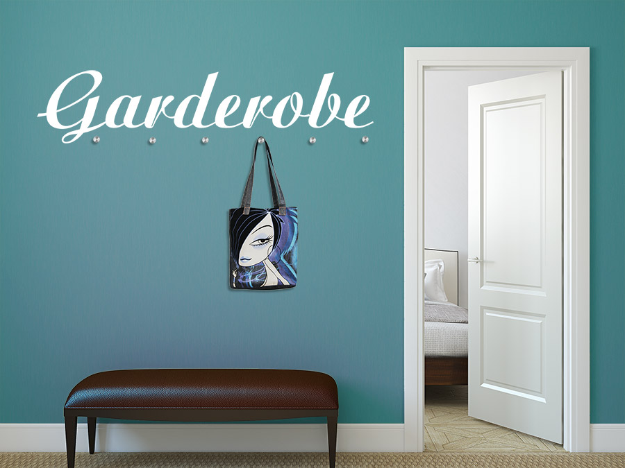 wandtattoo garderobe schriftzug garderobe mit haken bei. Black Bedroom Furniture Sets. Home Design Ideas