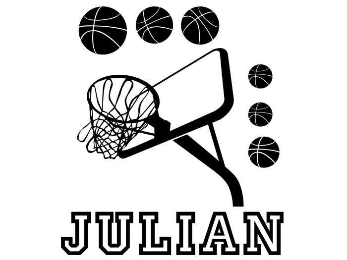 Ansicht Basketball Set mit Wunschname als Wandtattoo