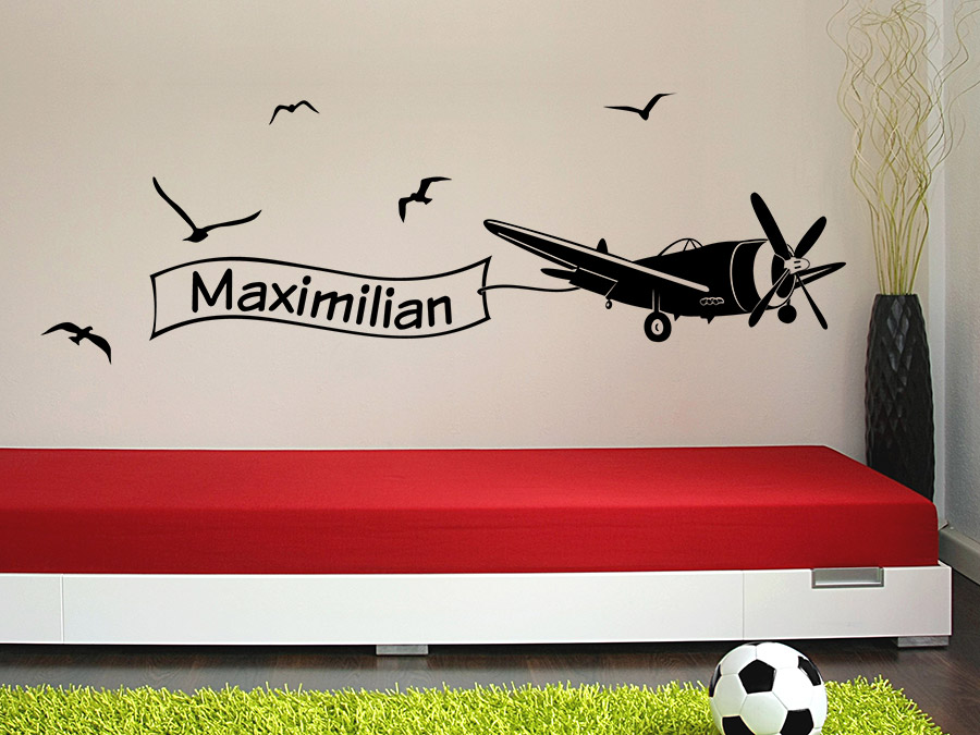 wandtattoo flugzeug mit name wandtattoo de. Black Bedroom Furniture Sets. Home Design Ideas