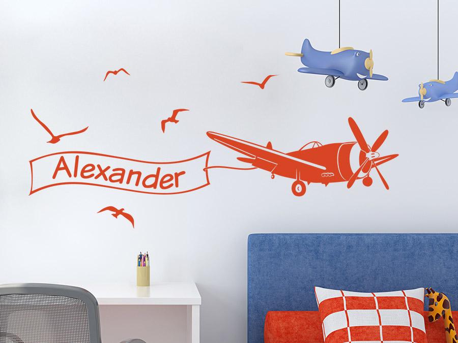 wandtattoo flugzeug mit name wandtattoo de. Black Bedroom Furniture Sets. Home Design Ideas