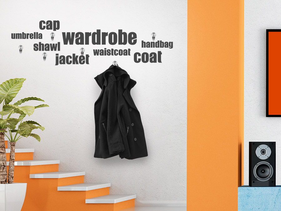 Wandtattoo garderobe wordcloud coat jacket shawl bei for Garderobe jacke