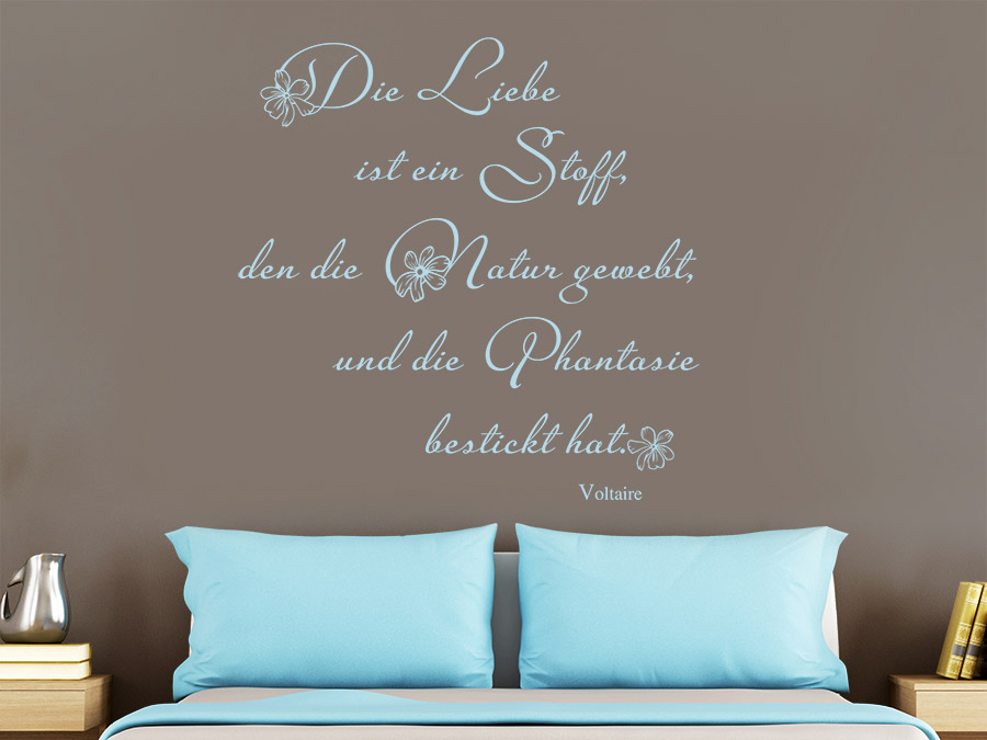 Wandtattoo die liebe ist ein stoff wandtattoo de for Wandtattoo schlafzimmer