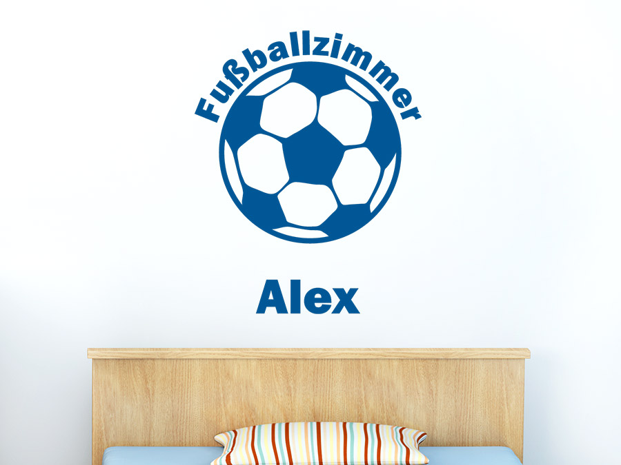 Wandtattoo Fußballzimmer mit Name | WANDTATTOO.DE