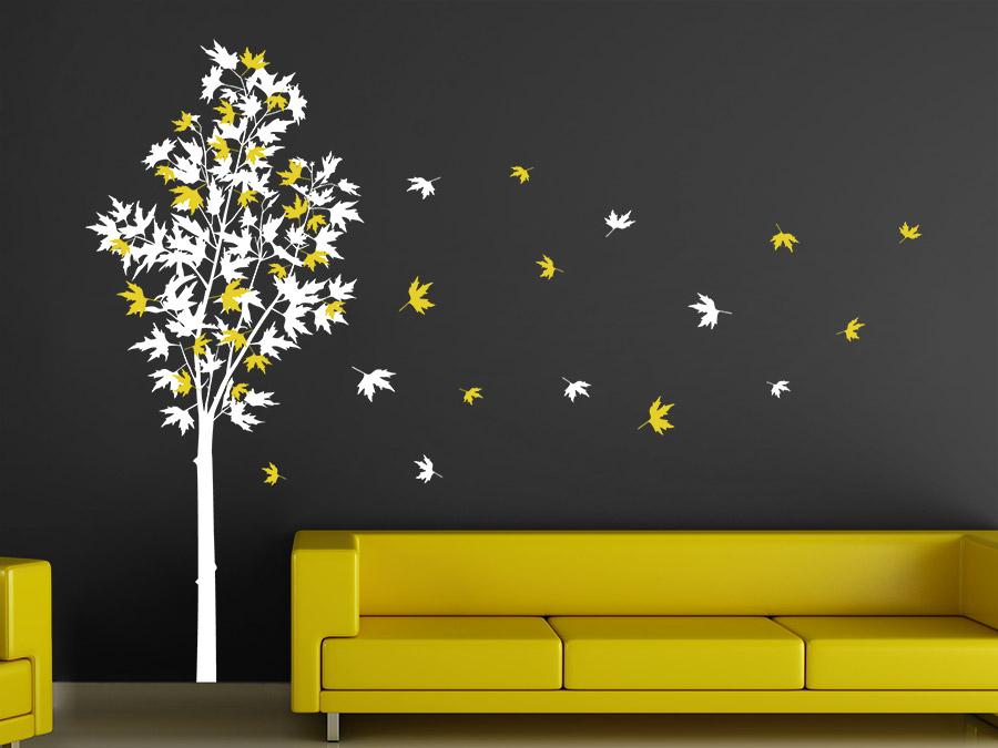 Wandtattoo Zweifarbiger Ahornbaum | Wandtattoo.de Wohnzimmer Weis Gelb