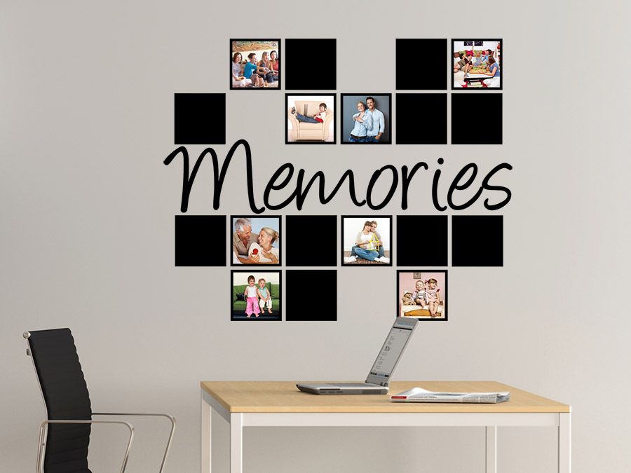wandtattoo fotorahmen memories mit quadraten bei. Black Bedroom Furniture Sets. Home Design Ideas
