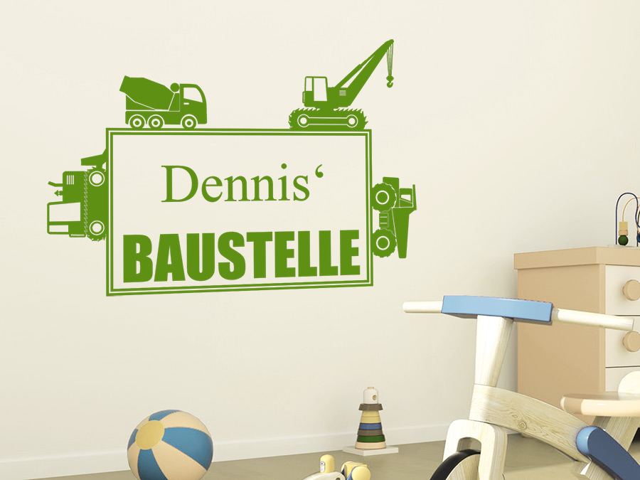 wandtattoo baustelle mit name wandtattoo de. Black Bedroom Furniture Sets. Home Design Ideas