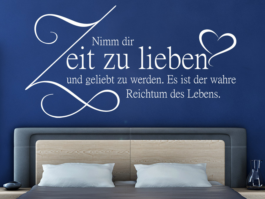 wandtattoo nimm dir zeit zu lieben wandtattoo de. Black Bedroom Furniture Sets. Home Design Ideas