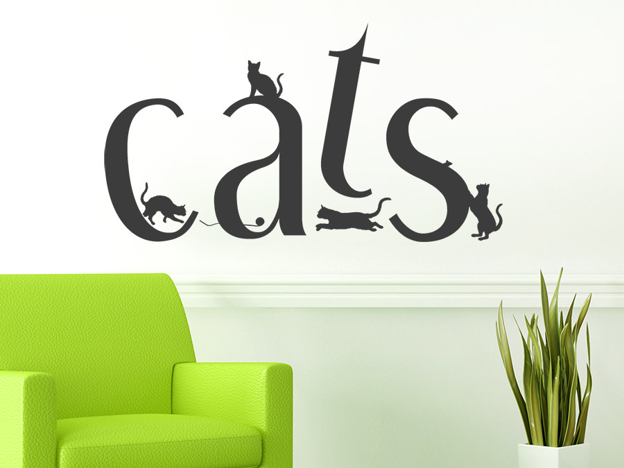 wandtattoo cats katzen auf buchstaben wandtattoo de. Black Bedroom Furniture Sets. Home Design Ideas