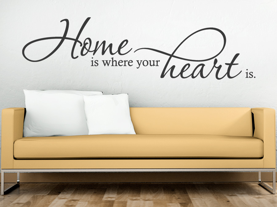wandtattoo home is where your heart is bei. Black Bedroom Furniture Sets. Home Design Ideas