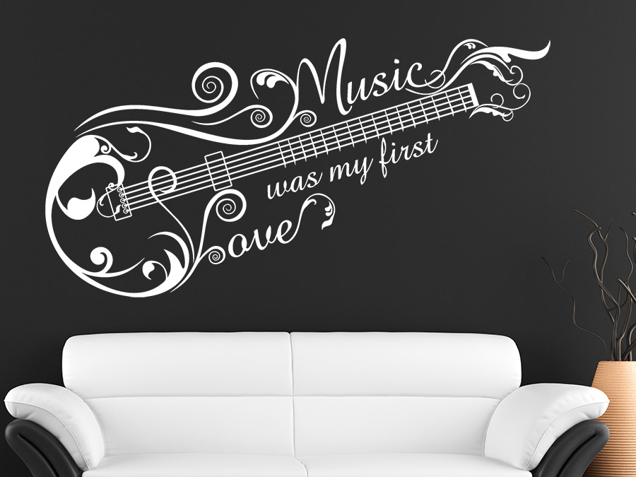 wandtattoo music love ornament von. Black Bedroom Furniture Sets. Home Design Ideas