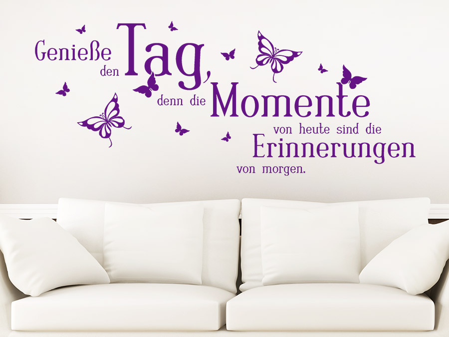 wandtattoo genie e den tag mit schmetterlingen. Black Bedroom Furniture Sets. Home Design Ideas