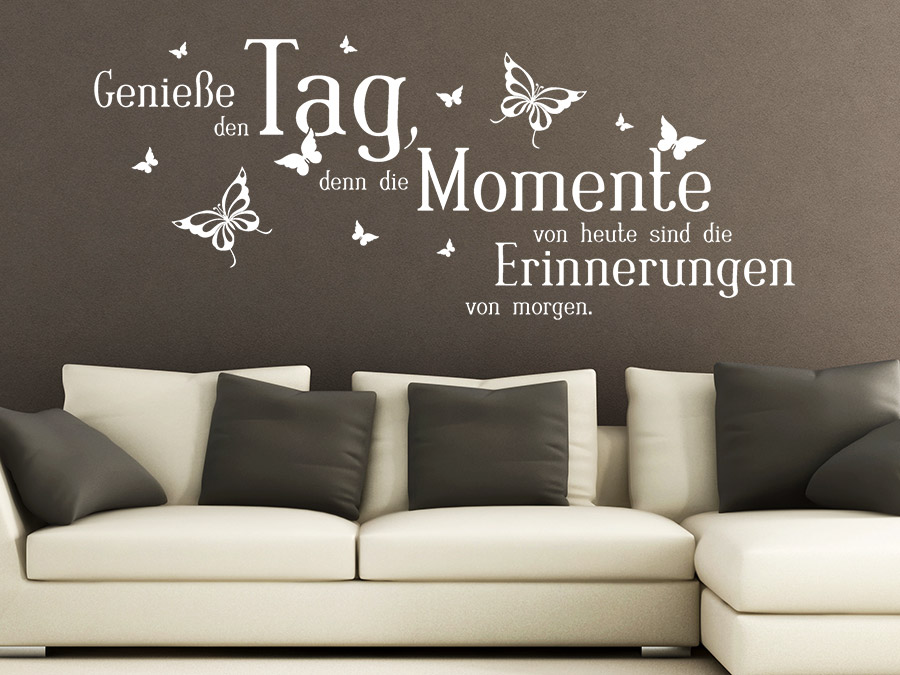 wandtattoo genie e den tag mit schmetterlingen wandtattoo de. Black Bedroom Furniture Sets. Home Design Ideas