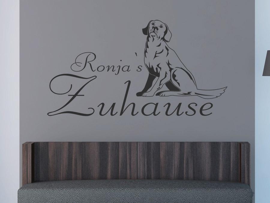 wandtattoo retriever mit wunschname hund wandtattoo de. Black Bedroom Furniture Sets. Home Design Ideas