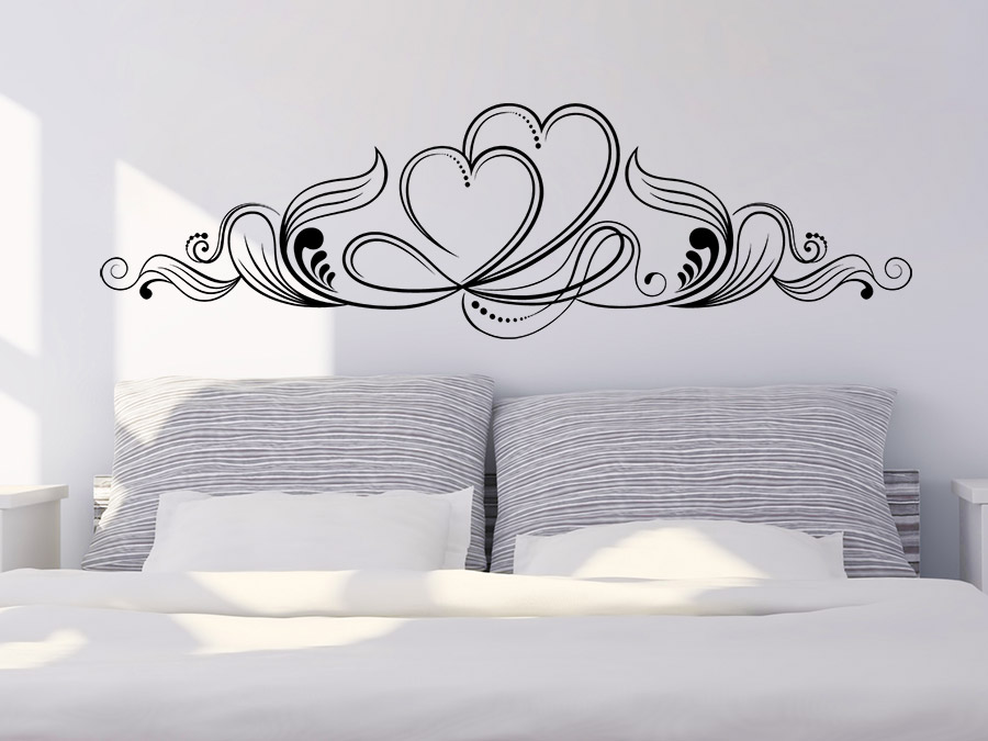 wandtattoo ornament mit herzen wandtattoo de. Black Bedroom Furniture Sets. Home Design Ideas