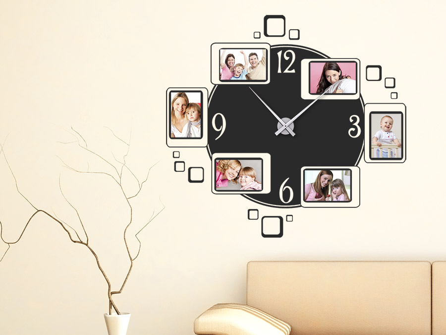 wandtattoo uhr fotorahmen wanduhr bei. Black Bedroom Furniture Sets. Home Design Ideas