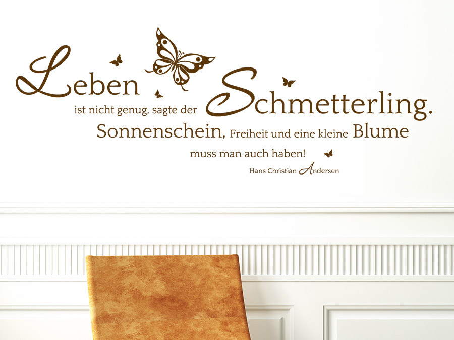 wandtattoo der schmetterling und die blume zitat. Black Bedroom Furniture Sets. Home Design Ideas