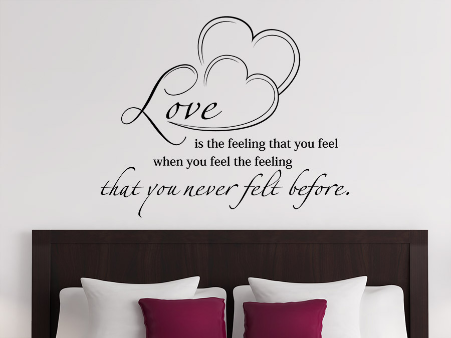 wandtattoo love is the feeling spruch von. Black Bedroom Furniture Sets. Home Design Ideas