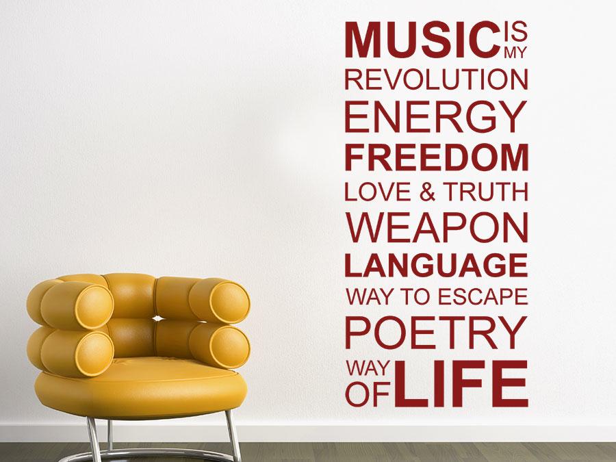 wandtattoo music is my life spruchband | wandtattoo.de