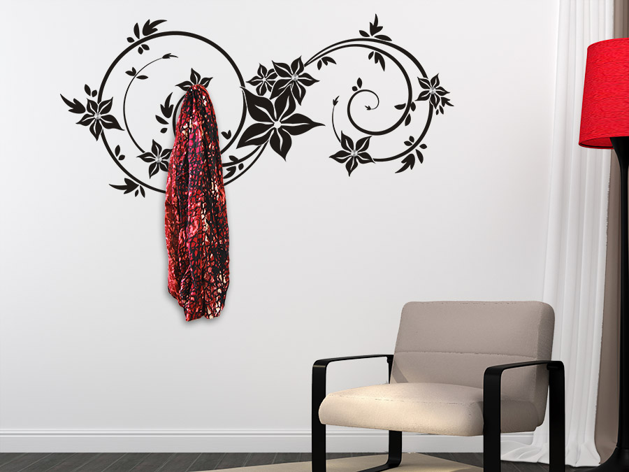 wandtattoo garderobe ornament wandbanner xxl wandtattoo de. Black Bedroom Furniture Sets. Home Design Ideas