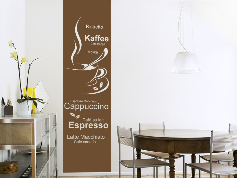 wandtattoo banner kaffeesorten wandbanner wandtattoo de. Black Bedroom Furniture Sets. Home Design Ideas