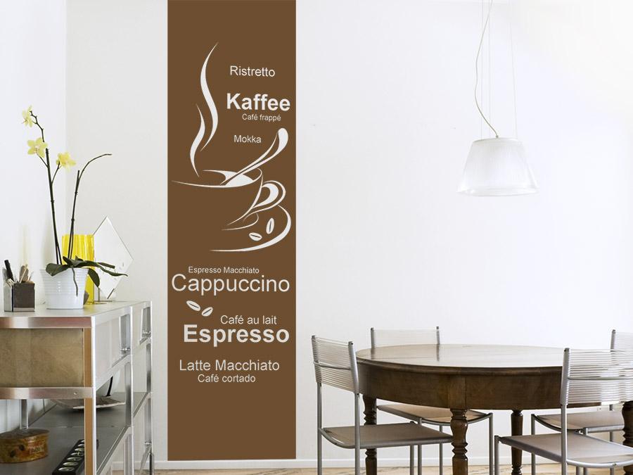 wandtattoo banner kaffeesorten wandbanner wandtattoo de. Black Bedroom Furniture Sets. Home Design Ideas