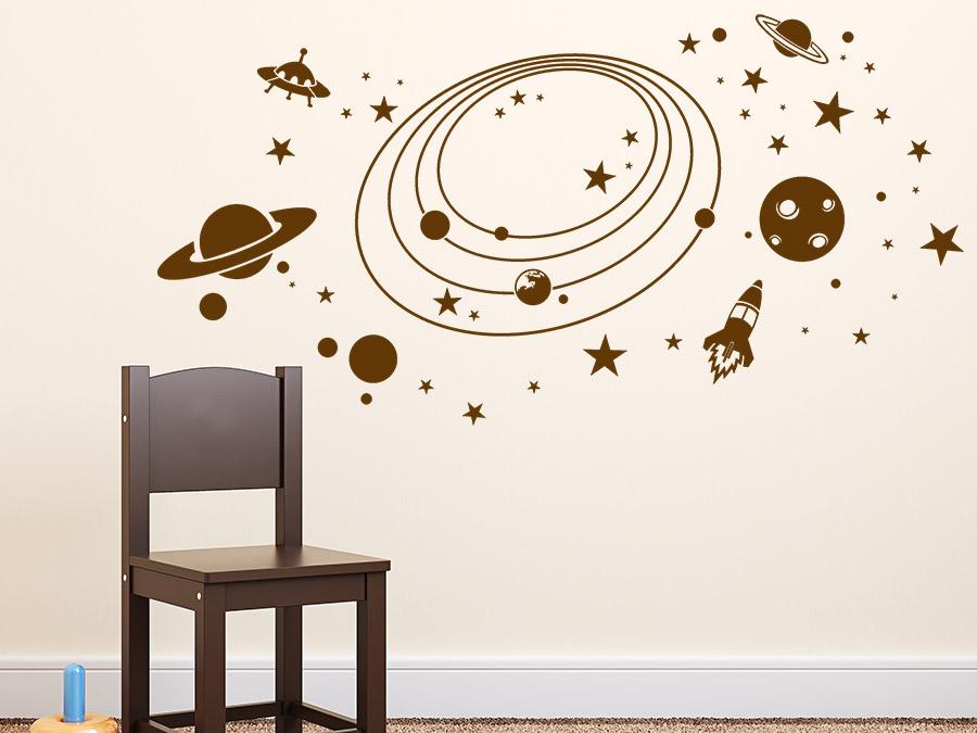 Wandtattoo im weltall mit planeten und raketen wandtattoo de - Kinderzimmer weltall ...