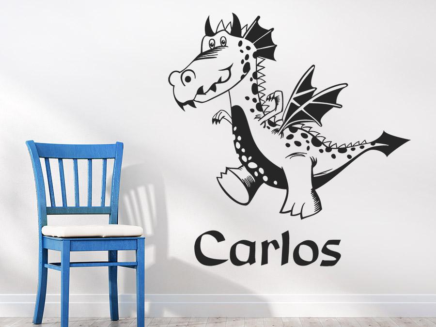 wandtattoo freundlicher drache mit wunschname bei. Black Bedroom Furniture Sets. Home Design Ideas