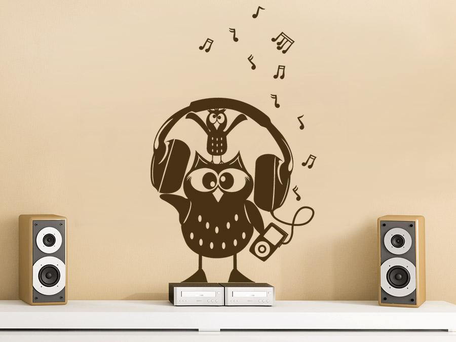 wandtattoo beat eule musik mit noten wandtattoo de. Black Bedroom Furniture Sets. Home Design Ideas