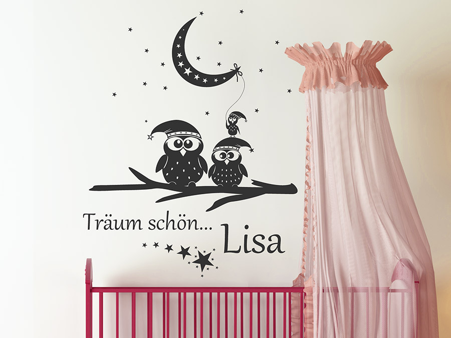 wandtattoo tr um sch n eule mit wunschname wandtattoo de. Black Bedroom Furniture Sets. Home Design Ideas