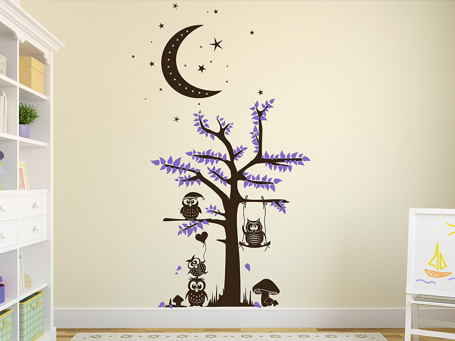 wandtattoo eulen im mondlicht baum wandtattoo de. Black Bedroom Furniture Sets. Home Design Ideas