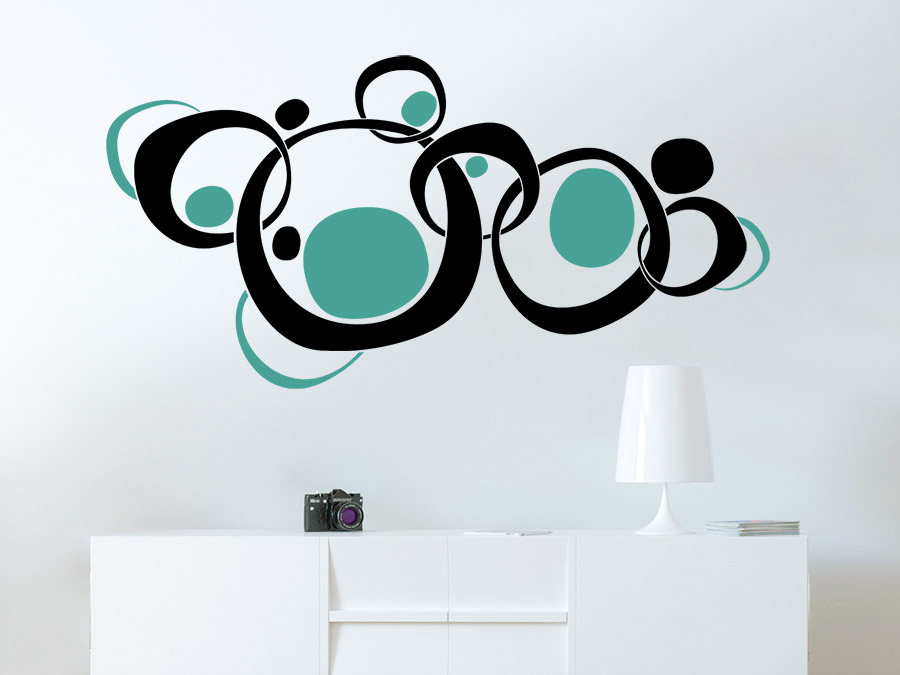 wandtattoo retroornament circles zweifarbig von. Black Bedroom Furniture Sets. Home Design Ideas